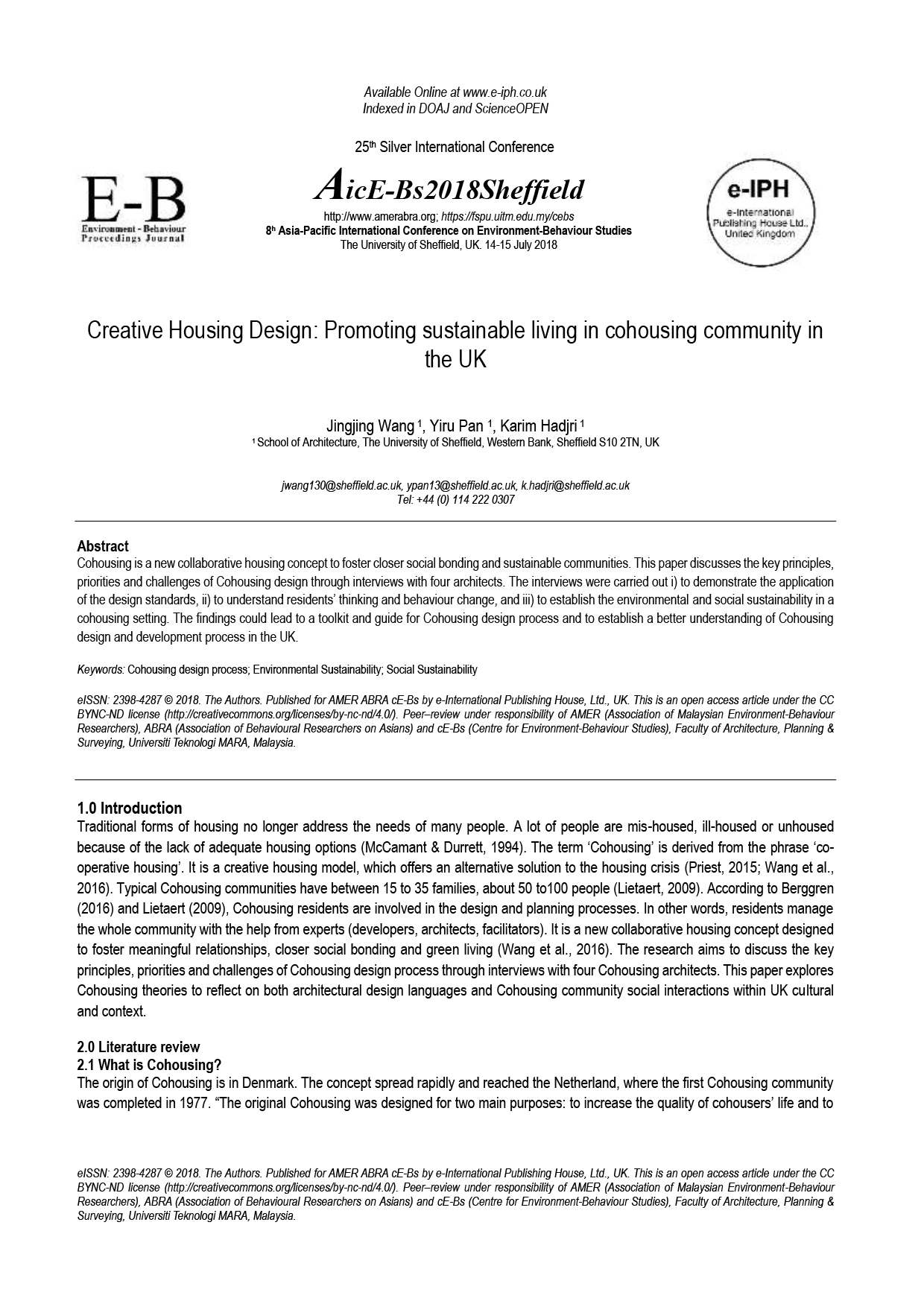 Creative Housing Design: Promoting sustainable living in cohousing community in the UK